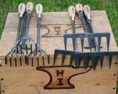 Crows Foot and Hand Rake Cultivators, Garden Hand Tools, Hand Forged, Blacksmith Made