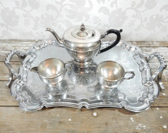 Polished Silver plate Tea Set, Teapot, cream and sugar by Royal Silverplate and Huge tray by Shelton ware