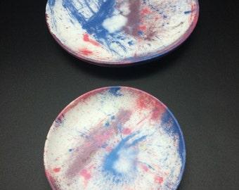 Blue and Pink Graffiti Style Resin Plate/Dish/Trinket Set