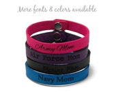 Leather Bracelet, Laser Engraved Military Bracelet, Personalized Gifts, Army Mom, Navy Mom, Air Force Mom, Marine Mom, Mothers Day Gift