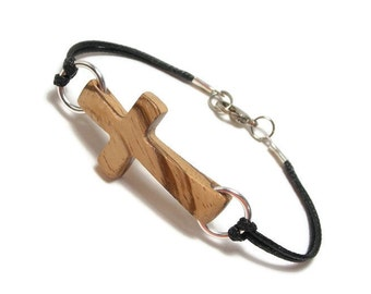 Sideways Cross Bracelet - Unisex Wood Cross Bracelet - African Zebrawood - Gifts Under 20