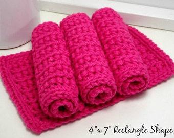 Crochet Dishcloths - Hot Pink Dishcloths - Cotton Dishcloths - American Grown Cotton - Handmade Set of 4