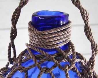 "Pirates Rum Jug 18"" Beach Decor, Dark Blue, Glass"