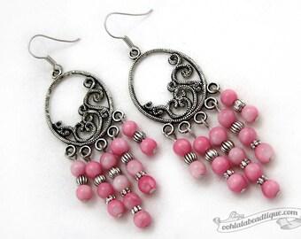 Pink chandelier earrings boho dangles pink jewelry shell earrings bohemian jewelry gypsy earrings hippie dangles long earrings gift for her