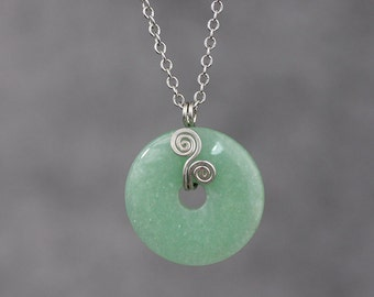 Sterling silver scroll jade hoop pendant necklace Bridesmaids gifts Free US Shipping handmade Anni Designs