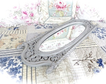 Shabby Driftwood Gray Long Floral Oval Face Wall Mirror Cottage Chic Ornate Scrolled Baroque Fancy READY TO SHIP