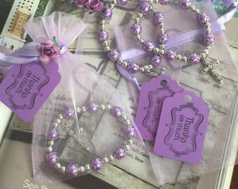 10 Bracelets favor, baptism favor, wedding lavender favors, communion favors, party favor, religious favors, quinceanera favors.NARELO