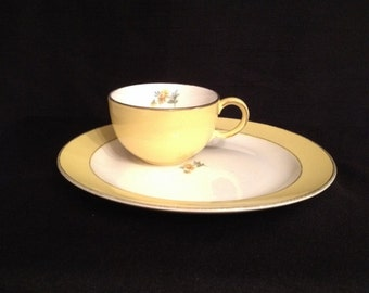 Vintage Porcelain Demitasse Cup and Plate marked Hall China Buttercup Yellow