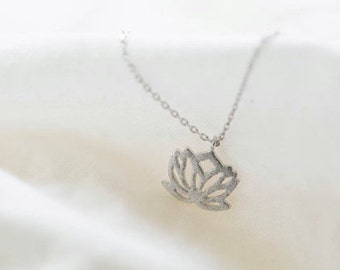 Lotus Necklace Pendant- Lotus Necklace- Lotus Flower Jewelry- Gift For a Yogi- Enlightened Jewelry- Gift For Her- Zen- Dainty Necklace