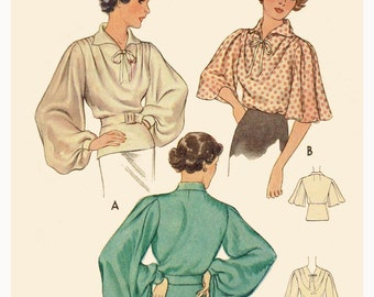 1930s Style Super Full Bishop Sleeve Blouse with Bow Collar Custom Made in Your Size From a Vintage Pattern