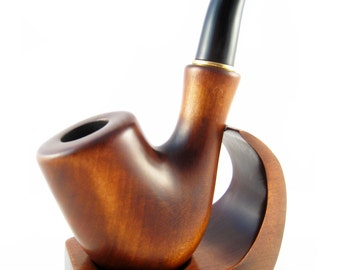 New Set - Sherlock Pipe + Stand, Tobacco Pipe, Smoking Pipe, Wooden Tobacco Pipe. Rare wooden Smoking Pipe Handcrafted