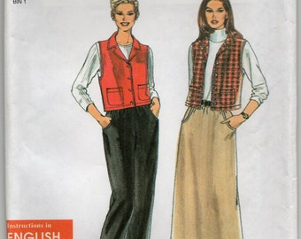 Vest Pants And Shirt Size 10 12 14 16 18 20 Sewing Pattern 1998 Easy To Sew Simplicity 8343 Plus Size