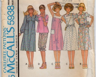 Dress Or Top Reversible Sundress Or Jumper And Knickers Size 8 Sewing Pattern 1978 Annie Too McCalls 5938