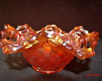 Fenton Carnival Glass, Fenton Blackberry print bowl, Marigold color household decor....