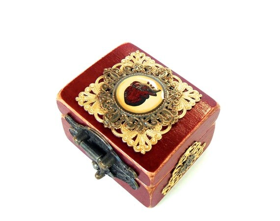 Anatomical Heart Engagement Ring Box in Port Red - Ring Bearer Box - Goth Wedding