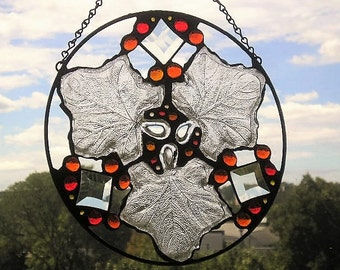 Stained Glass Art Panel|Round Leaf Panel|Autumn Colors|Autumn Leaves|OOAK|Glass Art|Handcrafted|Made in USA
