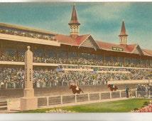Linen Postcard, Churchill Downs, Louisville, Kentucky, Horse Racing, ca 1930