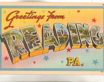 Linen Postcard, Greetings from Reading, Pennsylvania, Large Letter, ca 1940