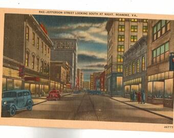 Linen Postcard, Roanoke, Virginia, Jefferson Street Looking South, ca 1950