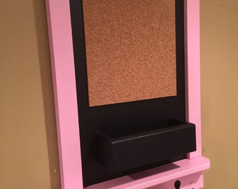 "Pink Framed Chalkboard with Mail Pocket Shelf Cork and Hooks ""The Court Court"""