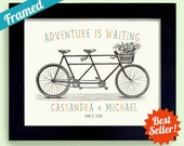 Gift for Newlywed Couple Wedding Sign Personalized Wedding Unique Engagement Gift Tandem Bicycle for Two Framed Art Print Bridal Shower