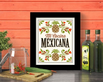 Mexican Kitchen Decor Mexico Poster Kitchen Art Print Mexican Home Mexican Food Mi Cocina Spanish Design New Mexico Southwest Style