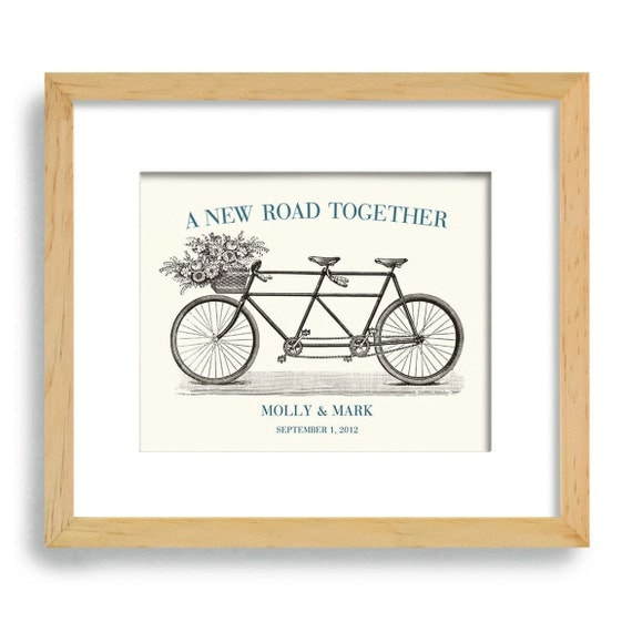 Unique Wedding Gift Engagement Gift Wall Art Vintage Wedding Decor Gift for Couples Bicycle for Two Bridal Shower Tandem Bicycle
