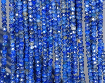 3x2mm Natural Azura Lapis Lazuli Gemstone Grade AA Blue Fine Faceted Cut Rondelle 3x2mm Loose Beads 15.5 inch Full Strand (80001671-791)