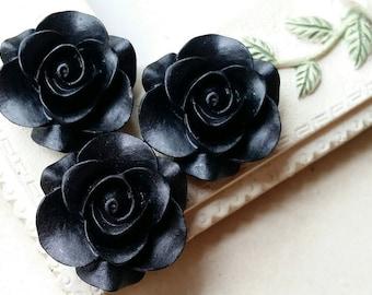 21 mm Black Colour Rose Resin Flower Cabochons ( .ag)
