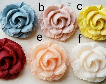 34 mm Big Rose Resin Flower Cabochons of Assorted Colors (.ha)