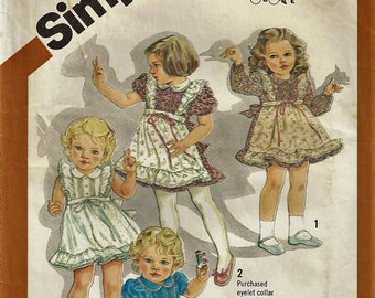 Vintage 1981 Simplicity 5257 CINDERELLA DRESS PATTERN Toddler Size One UncutFactory Folded