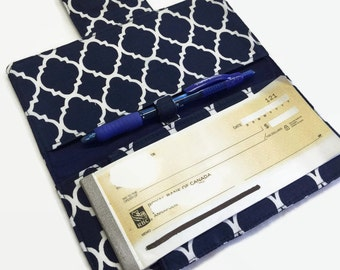 Handmade Checkbook Cover, Checkbook case, Navy Blue checkbook holder