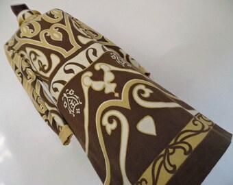 SALE :) MAYA GRACE . Inka Aztecs Art Nouveau Mustard Cream Vanilla Ivory Brown Pure Wool Print Midi Dress 70s S