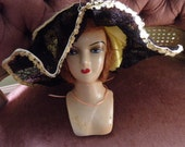 Composition French Mannequin, Bed Doll, Boudior With Original Floppy Hat