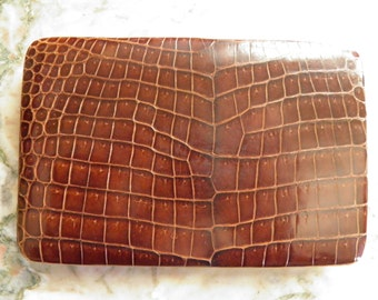 Fine Embosed Dark BownLeather Wallet.  Made in ENGLAND.