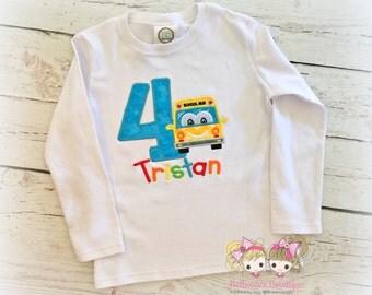 Boys rainbow school bus birthday shirt - school themed birthday- back to school birthday shirt- bus themed birthday- boys embroidered shirt