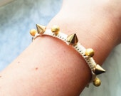 Cream and Gold Spike bead woven Bracelet-friendship bracelet handmade, statement bracelet, threaded bracelets, boho jewelry, gold friendship