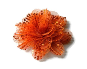 "Sequin and Tulle Flowers. 3.5"" ORANGE Sequin Flowers. QTY: 1 Flower.  ~~ Noelly Collection."