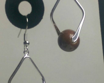 Silver tone and brown dangle earrings