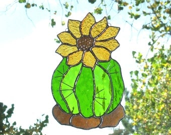 Barrel Cactus Flower Stained Glass Large Sun Catcher / Small Panel