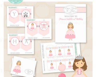 Princess Birthday Party Package- Printable PDF files. Pink & Silver polkadots. Other colors available. Invitation cupcake topper favor tag