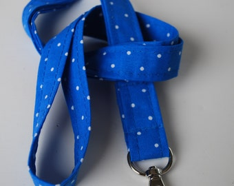 Keychains lanyard.White polka dot blue background patterned lanyard. ID badge lanyard. Lobster Claw Clasp