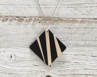 Ceramic Square Pendant, Black, Cream, Unique Gift, Modern, Gift for Her, Minimal, Ceramics, Fashion, Ceramic Jewelry