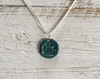Dark Teal Ceramic Paw Print Pendant, Dog Mom, Rescue Mom, Unique Gift, Dog Lover, Pet Jewelry, Dog Jewelry, Ceramic Jewelry