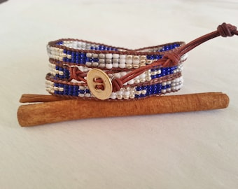 3x leather wrap, vintage cognac, blue, white, silver, gray seed bead mix