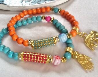 Hamsa bracelet , elephant bracelet , ethnic bracelet , Gypsy bracelet , bohemian bracelet , Middle Eastern bracelet