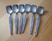 Vintage/Retro Sugar spoons x 6 Stainless steel