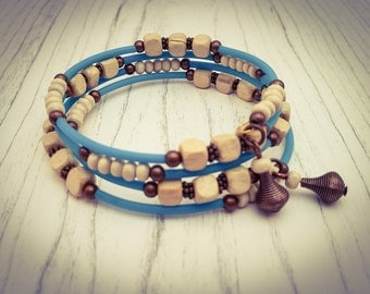Turquoise and Natural Wooden Bead and Bronze Memory Wire Wrap Bohemian Festival Cuff Bracelet - [B13]