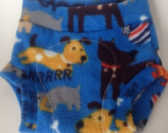 LARGE Fleece Diaper Cover / Soaker: Blue Dogs