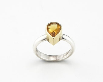 Citrine Ring Natural Stone Ring Orange Stone Ring Dainty Stone Ring - Sterling Silver (925) 18ct Gold